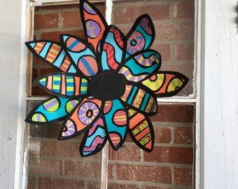 Metal flower door hanger, spring door decor, summer door decor, Mother's Day gift