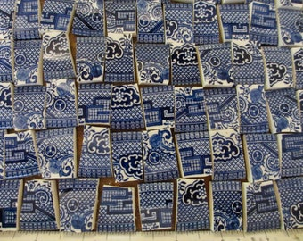 224 Churchill  Blue Willow China Blue Transferware Mosaic Tiles