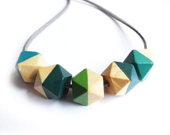 Green Hexagon Necklace, Half Painted, Wooden Jewellery and Necklaces, Khaki Green Necklace, Geometric Teething Necklace, Seafoam