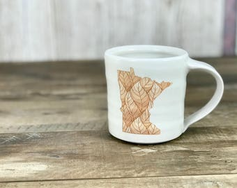 Handmade porcelain pottery mug - Made in Minnesota - White glazed MN state mug with leaf pattern, gift from MN, Minnesota gift, Handmade MN