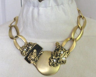 statement necklace . large necklace . 80s statement necklace . bling necklace . abstract necklace