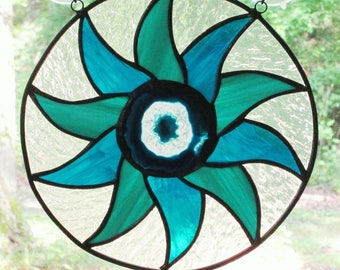 Stained Glass Panel - Pinwheel with Blue and Teal Glass  - Center Blue and Crystal Agate