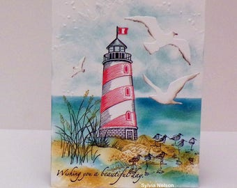 Beautiful Seascape Birthday card..Lighthouse watercolor card...Stampin'Up! stamps...Lighthouse Stampabilities...Birds Impression Obsessions!