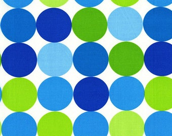 OOP Michael Miller Fabric by the Yard - Disco Dot in Caribbean - Aqua Turquoise White Lime Green
