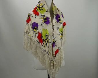 Vintage Fringed Stole Multi-Color Floral Wrap