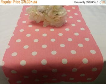 ON SALE PINK Polka Dot Table Runner,  Polka Dot White on Dark Pink Rose,  Wedding Bridal Home Decor Chic  Other colors available