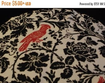 """ON SALE SALE Priced to Go Table Rounds for Centerpieces , 72"""" Runner White Leaf Damask Round with Red  Bird 20"""" Rpst"""
