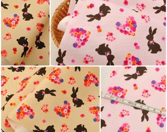 4692 - Japanese Rabbit & Floral Heart Twill Cotton Fabric - 43 Inch (Width) x 1/2 Yard (Length)