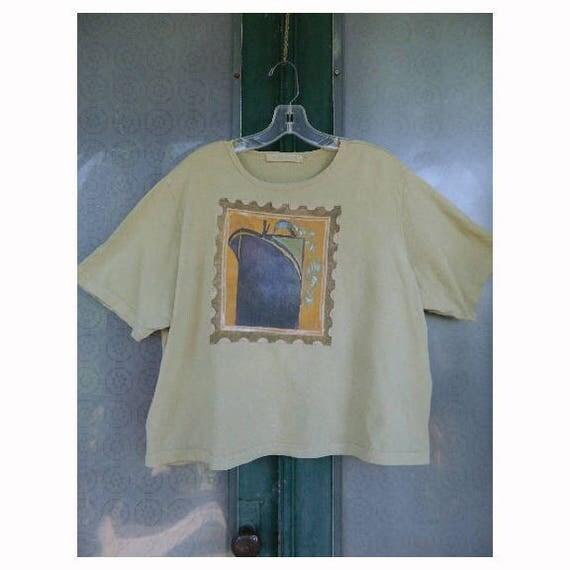 Blue Fish 1998 Artwear Short-Sleeve Crop Tee -2- Green Organic Cotton Oceanliner