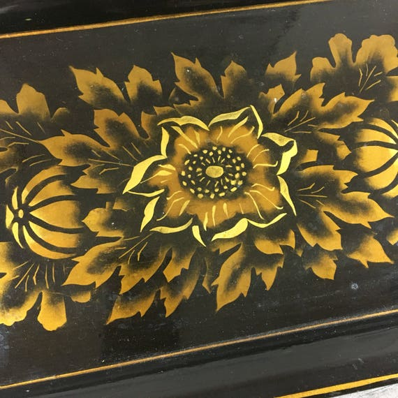 "Vintage Handpainted Tray 14"" x 9"" Black and Gold"