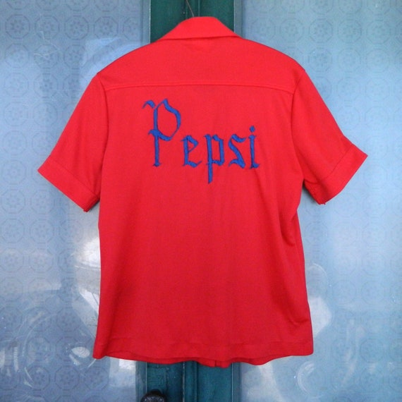 Vintage Short-Sleeve Pepsi Shirt -18- Red with Blue Embroidered Name on Sleeve ROS
