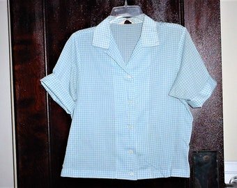 Vintage 60s Blue Gingham Check Ladies Short Sleeve Shirt 38 As Is