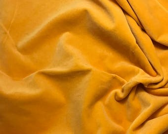 """Hand Dyed Cotton VELVETEEN Fabric GOLDEN POPPY fat 1/4 18""""x27"""" remnant"""