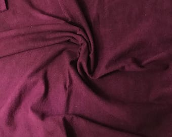 """Hand Dyed Maroon Raw Silk Noil Fabric - 18""""x22"""""""