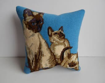 Siamese Cat and Kitten Accent Pillow