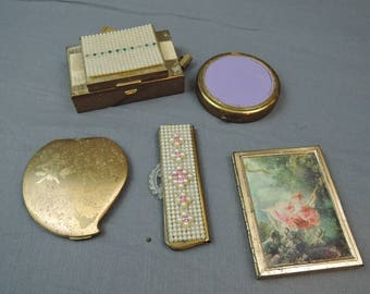 Lot of Vintage  Compacts & Comb Case, As Is, Elgin American, Cupid, Love, Silk Lady, Pearls Make up, powder puff