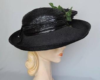 Vintage Black Straw Hat with Wide Brim and Huge Rose, 21 inch head Bonwit Teller