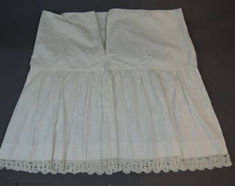 Vintage Edwardian Petticoat, 1900s Antique Cotton Slip Handmade Crochet & Ric-Rac Lace Trim,  As Is - needs new waist