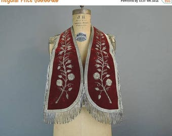 20% Sale - Antique Velvet Fraternal Regalia Collar with Metal Floral Embroidery and Fringe, early 1900s to 1920s