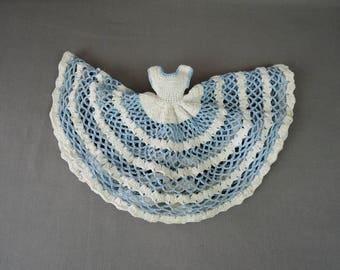 Vintage Crochet Doll Dress Pot Holder or Cover, Kitchen Full Skirt