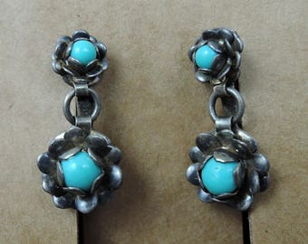 Vintage  Mexican Flower Earrings with Turquoise Stones, Screw back 1950s