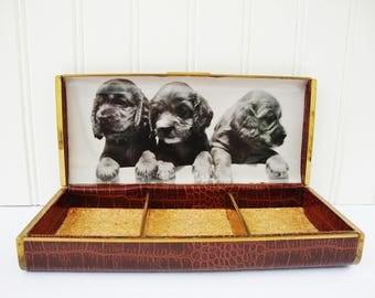vintage jewelry box cocker spaniel puppy photo farrington faux leather mens cuff link case