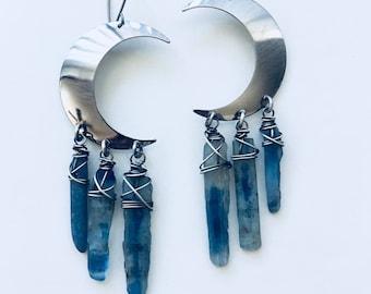 Silver Moon Earrings Healing Crystal Dangle Earrings Crescent Moon Daniellerosebean kyanite earrings Raw Gemstone Earrings Witchy