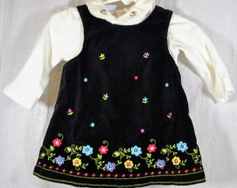 Miniwear Baby Girls Black Velvet Jumper with long Sleeved White Onsie - Size 6 - 9 Months