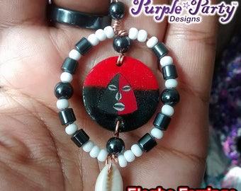 Elegba Earrings African Earrings Legba earring white black and red jewelry cowry cowrie shell jewelry