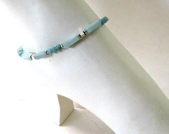 Anklet, Boho Anklet, Amazonite Anklet, Beaded Anklet, Body Jewelry, Gemstone Anklet, Greenish Blue MInimalist, Bohemian 9 inch, #1269