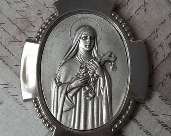 ON SALE Saint Theresa Devotional Picture Portable Metal Shrine, Made In Italy Patron Saint Of Florists, Flower Growers, Aviators, Therese Of