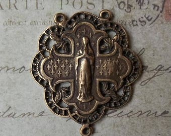 ON SALE Medieval Bronze Our Lady Of Lourdes Blessed Virgin Mary French Heraldic Patonce Pattée Cross Filigree Rosary Center