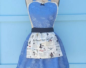ALICE in WONDERLAND apron, sexy hostess apron, Alice in Wonderland costume apron,  bridal shower gift, womens costume, fast and easy costume