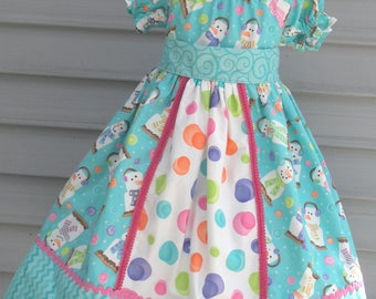 Ready to Ship Custom Boutique Aqua Snowman S'Mores Christmas Girl Dress Will Fit Size 4 or 5