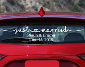 Just Married car decal for newlyweds vehicle window