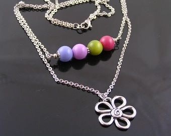 Multi Chain Necklace with Flower Pendant, Multi Strand Necklace, Czech Glass Jewelry, Daisy Necklace, Stainless Steel Necklace, N1364
