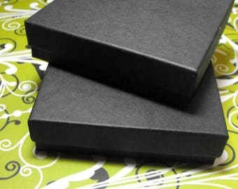 memorial day sale 100 Pack 3.5 X 3.5 X 1 Inch Matte Black Size Cotton Filled Jewelry Presentation Gift Boxes