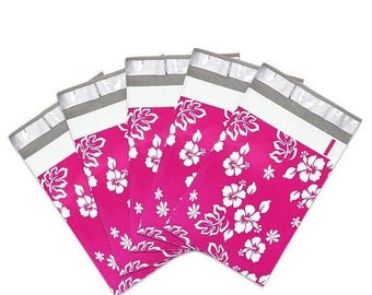 New Years Sale 25 Pack Tear Proof Hibiscus Aloha Design Plastic Poly Mailing Self Stick Closing Envelopes  6X9 Inches