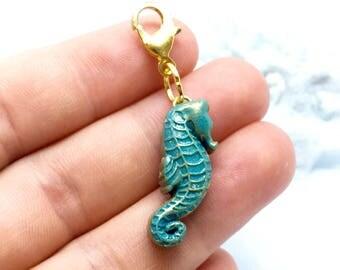 Blue Ocean Seahorse Charm