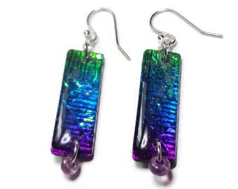 Rainbow Dichroic Earrings- polymer clay jewelry- Gifts for Her Statement Earrings- Boho Earrings- Ready to Ship