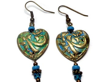 Turquoise Vintage Heart Earrings- Polymer Clay Earrings Verdigris Antique Crystal Earrings Gifts for Her Birthday Graduation
