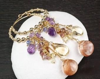 Summer SALE Copper Rutilated Quartz Amethyst Citrine Spinel 14k gold Filled Hoop gemsotne cluster earrings ... SULIEN Earrings