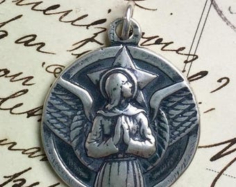ON SALE Large Sterling St Michael the Archangel Medal - Heavenly Protector - Antique Reproduction
