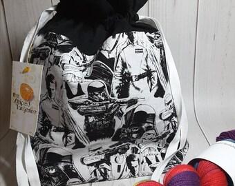 Star Wars Inspired Drawstring Project Bag- Medium- Knitting- Crochet- Needlearts- Crafting- Artist