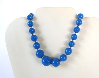 Vintage 1980's Blue Necklace with Graduated Beads and Goldtone Spacers