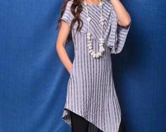 Free Shipping SALE Size S Nile Garden - asymmetrical cotton tunic deconstructed boho tunic dress extravagant dress / grey t shirt  (Y19b6)