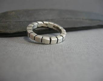 vintage sterling silver ring, deep oxidized grooves, thick band, stacking ring, size 7.5, heavy, simple, unisex, man or woman, men's women's