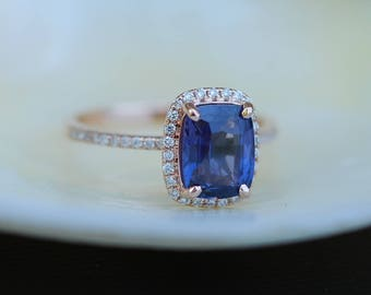 Blue Sapphire Engagement Ring. GIA certified. Rose Gold Ring. 14k rose gold diamond ring. Cushion Sapphire 2.6ct by Eidelprecious