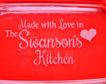 Personalized Custom Engraved Baking Dish, Housewarming Gift Casserole Dish, Moms Birthday, Baker's Gifts ~ 3 Sizes Available with Lid~#5