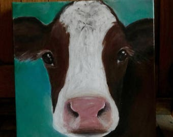 Canvas print of an original acrylic painting. Penny, cow, farm, country, primitive painting 8 x 8